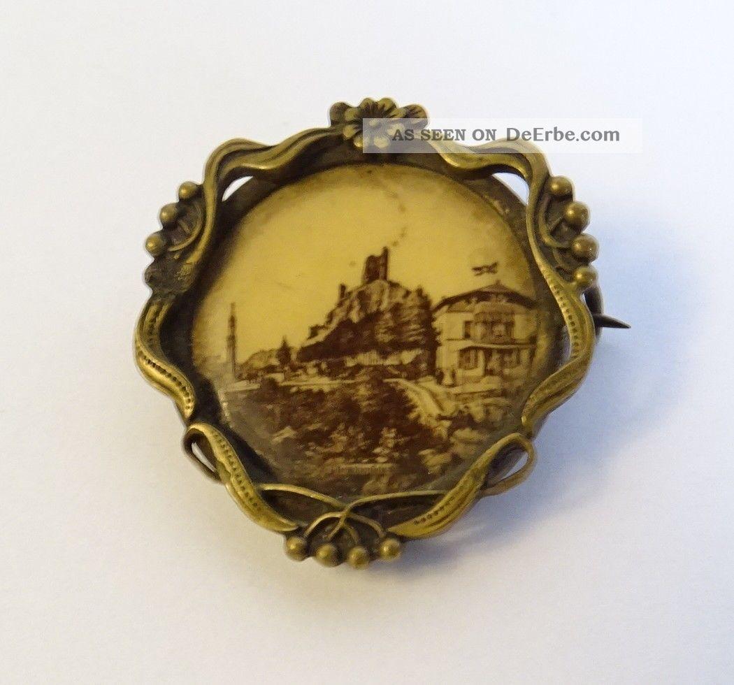 Antike Jugendstil Brosche Motiv Ansicht Burg Drachenfels Siebengebirge Rheintal Schmuck nach Epochen Bild