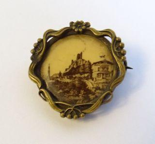 Antike Jugendstil Brosche Motiv Ansicht Burg Drachenfels Siebengebirge Rheintal Bild
