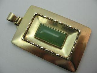 Handarbeit Prächtiger Großer Jade Anhänger Aus Vergoldetem 800 Silber Bild
