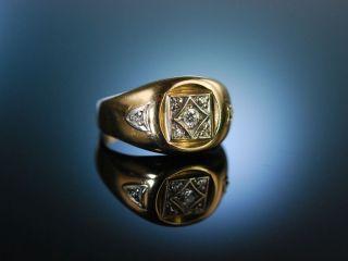 Vintage Statement Grosser Ring Gold 585 Diamanten Usa Um 1960 Diamonds Bild