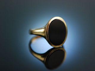 Damen Monogramm Wappen Siegel Ring Gold 333 Schwarz Onyx Ungraviert Bild