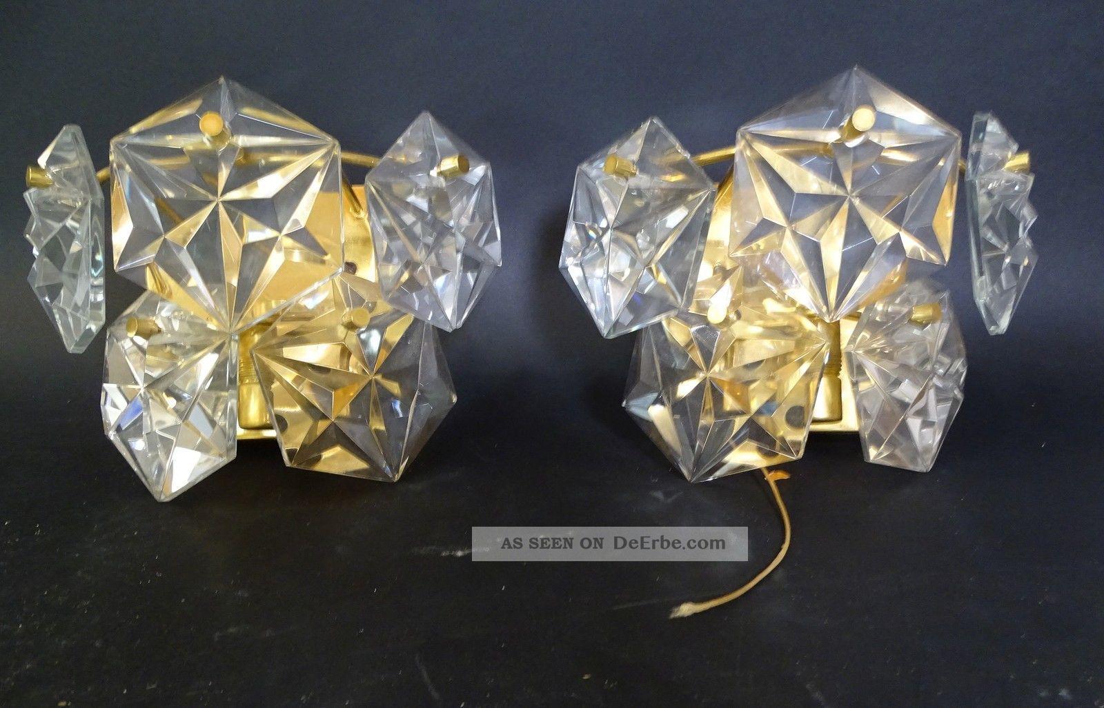 50er Jahre Design Paar Hochwertige Dickwandige Kristallglas Wandlampen Leuchter 1950-1959 Bild