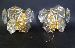 50er Jahre Design Paar Hochwertige Dickwandige Kristallglas Wandlampen Leuchter Bild