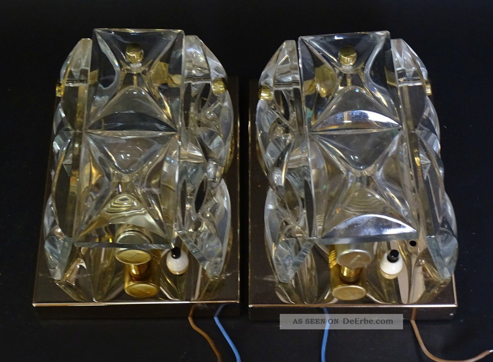 Paar Hochwertige Dickwandige 50er Jahre Design Kristallglas Wandleuchter Lampen 1950-1959 Bild