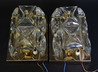 Paar Hochwertige Dickwandige 50er Jahre Design Kristallglas Wandleuchter Lampen Bild
