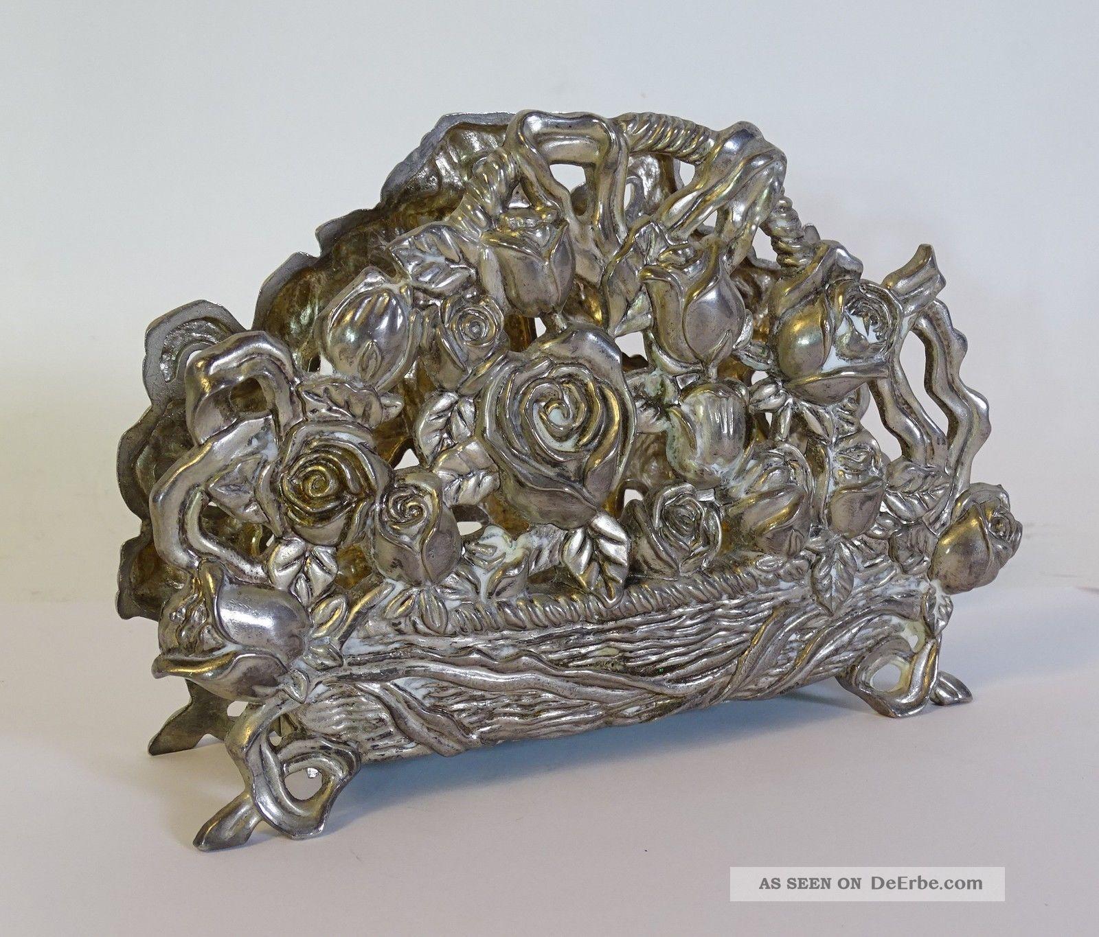 Antiker Großer Serviettenhalter Herrlichem Blumendekor Metall Serviettenständer Metallobjekte Bild