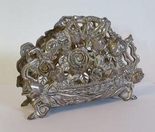 Antiker Großer Serviettenhalter Herrlichem Blumendekor Metall Serviettenständer Bild
