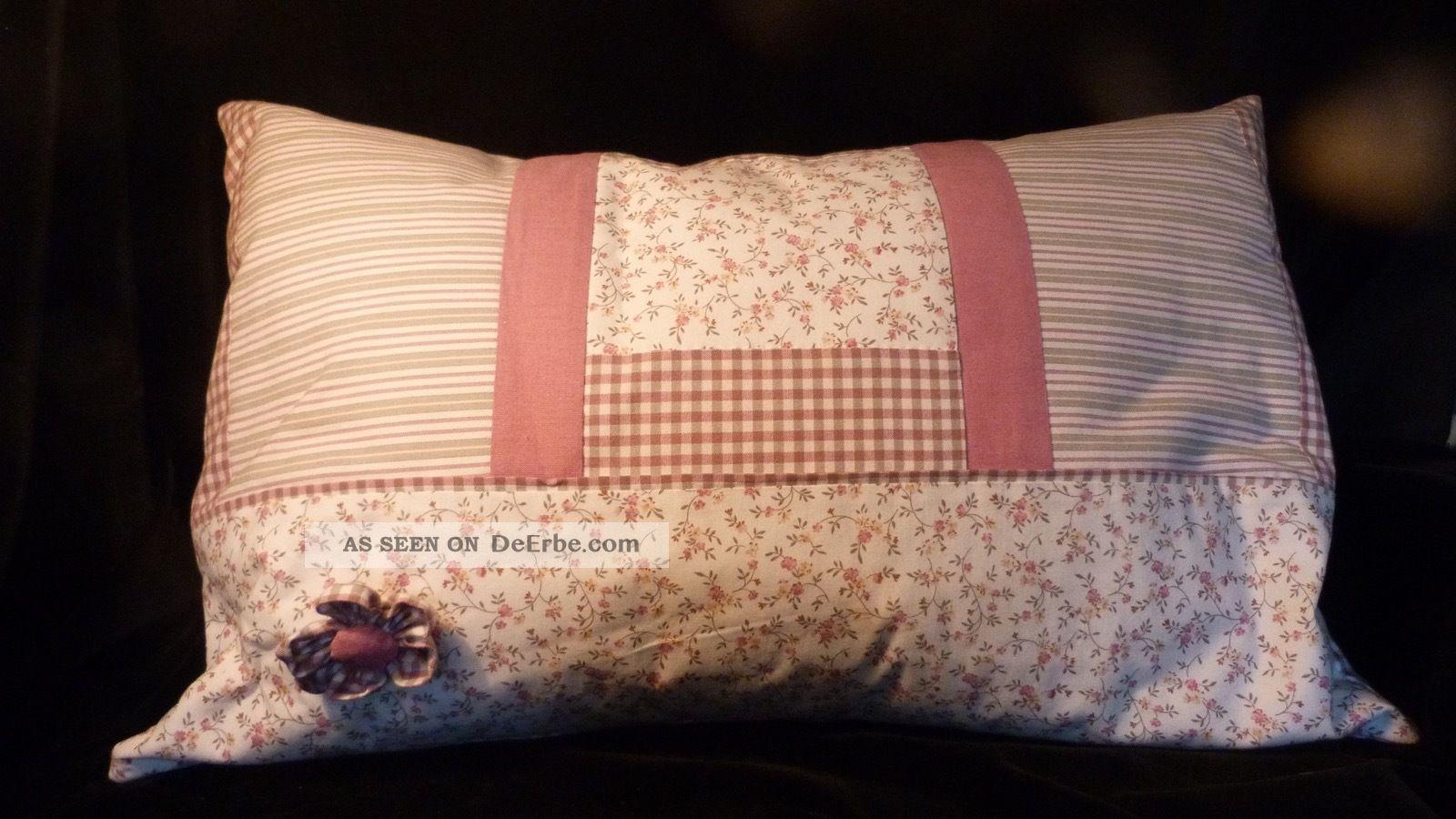 Vintage Landhaus Kissen - 60 X 40 - Augenscheinlich Leinen Und Unbenutzt Shabby Textilien & Weißwäsche Bild