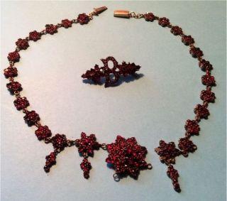 Granatkette Mit Brosche,  Reparaturbedürftig Bild
