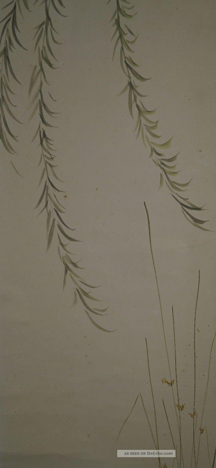 Antikes Japanisches Rollbild Kakejiku Weißer Reiher Japan Scroll 3605 Asiatika: Japan Bild