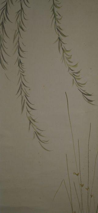 Antikes Japanisches Rollbild Kakejiku Weißer Reiher Japan Scroll 3605 Bild