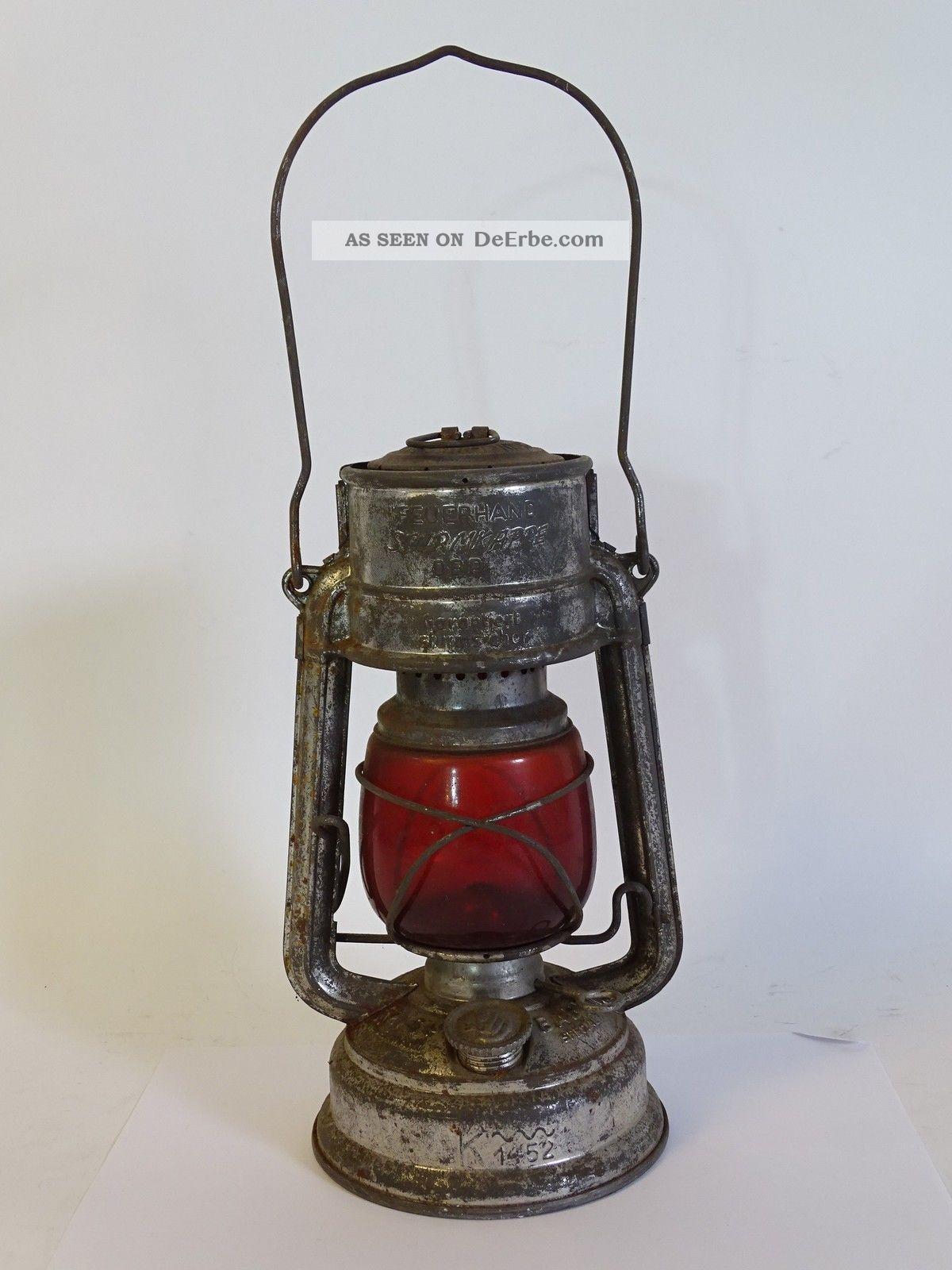 Antike Feuerhand Sturmkappe Petroleum Lampe Dbp Garantiert Sturmsicher Antike Originale vor 1945 Bild