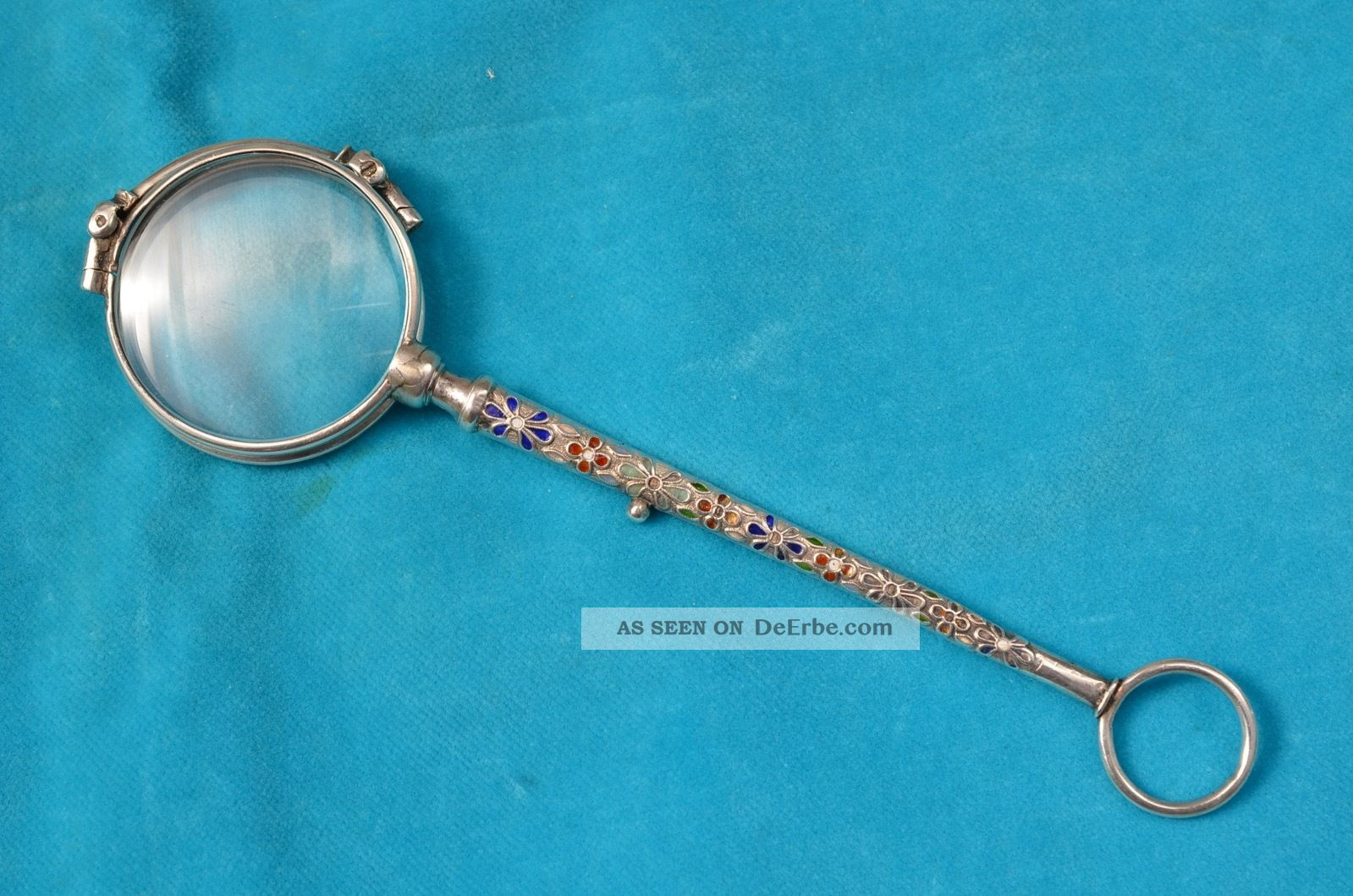 Antikes Jugendstil Lorgnon Mit Verzierten Emaillierten Griff Silber 800 Um 1900 Optiker Bild