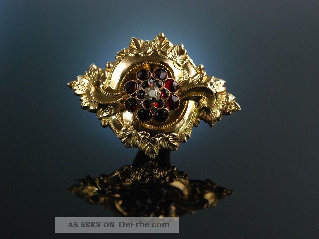 MÜnchner Biedermeier Brosche Granat GolddoublÉ Um 1850 Tracht Schmuck nach Epochen Bild