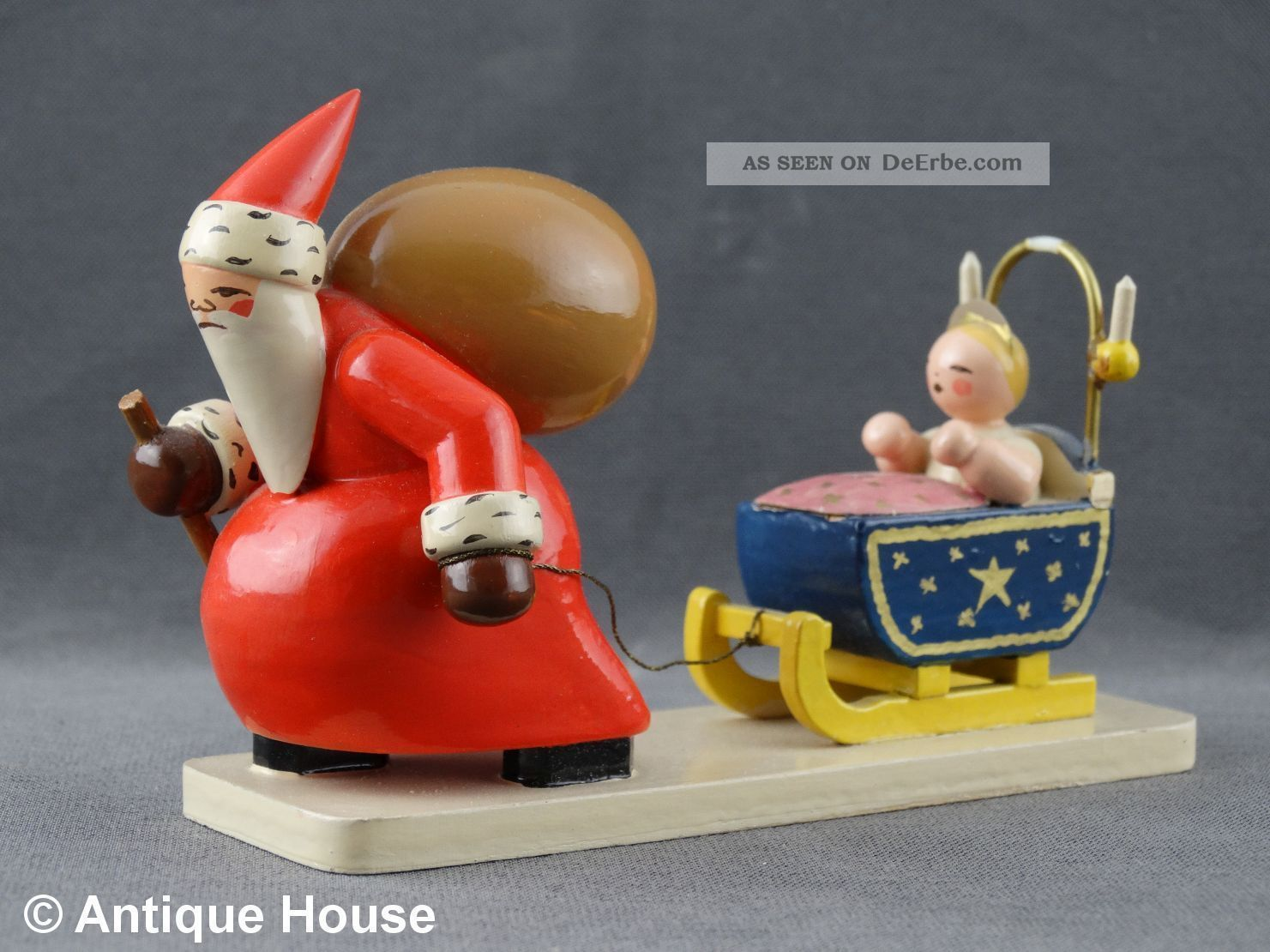 Wendt & Kühn Alter Weihnachtsmann Mit Christkind Und Schlitten Ovales Logo Ab 19 Antike Originale vor 1945 Bild