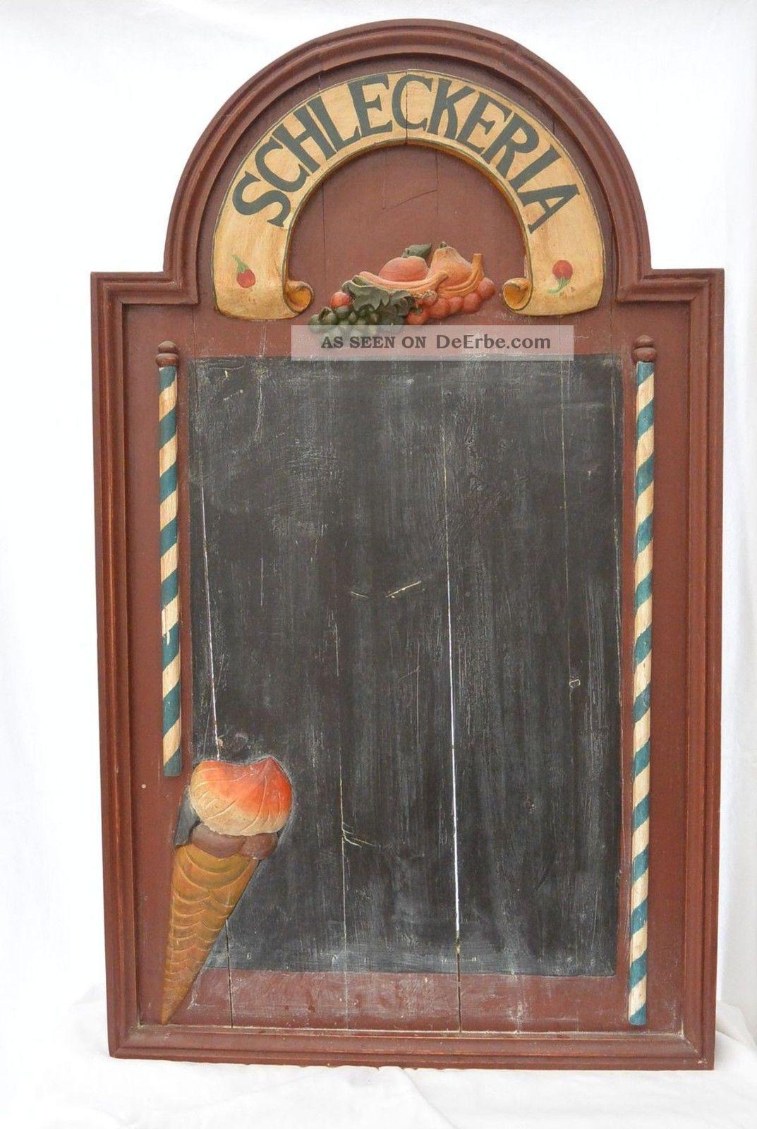 Antik Holzschild Werbung Schleckeria Schiefertafel Dekoration - Holzarbeiten Bild