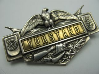 Sehr Alte Und Seltene Jäger Oder Schützen Vorstand Brosche Aus 800 Silber Bild