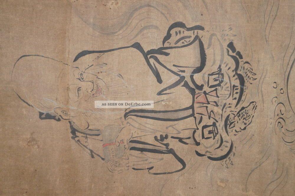 Japanisches Rollbild Kakejiku Jurojin Auf Einer Schildkröte Japan Scroll 3561 Asiatika: Japan Bild