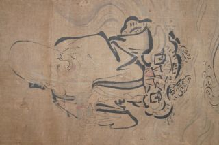 Japanisches Rollbild Kakejiku Jurojin Auf Einer Schildkröte Japan Scroll 3561 Bild