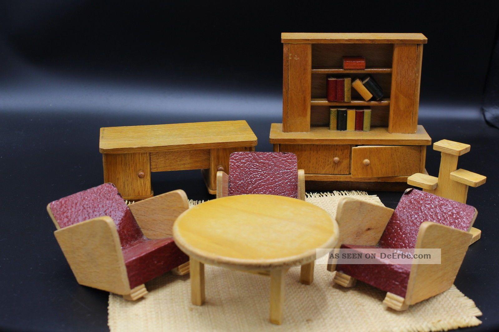 Mid Century Design Puppenwohnzimmer Um 1950 Puppenhaus Puppenstube Puppenstuben & -häuser Bild