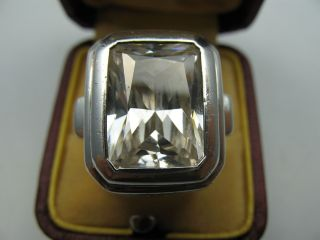 Prächtiger Schöner Großer Ring Aus 925 Sterling Silber Mit Weißem Stein Bild