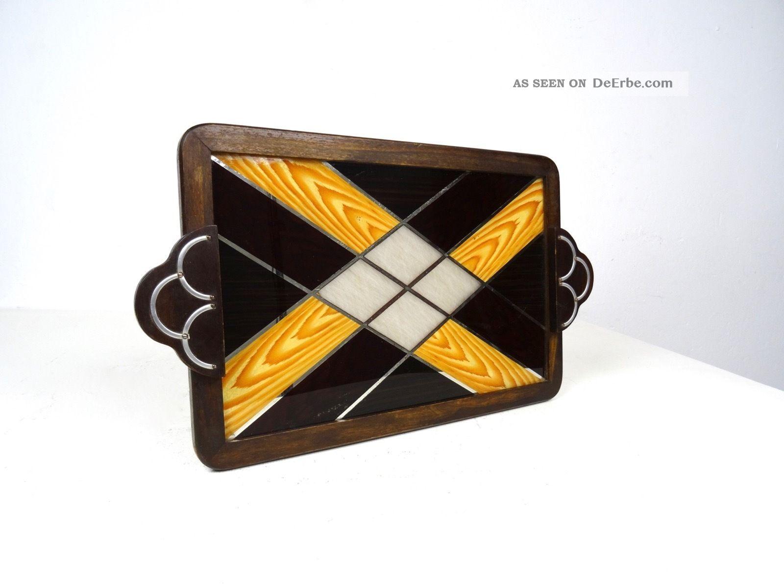 Extravagantes Art Deco Servier Tablett 1930 Tablett Bar Geometrisch Chrom 1920-1949, Art Déco Bild