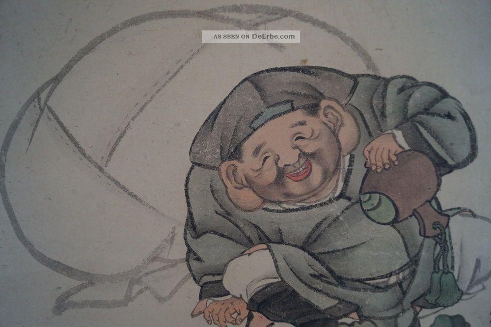 Antikes Japanisches Rollbild Kakejiku Hotei Und Die Mäuse Japan Scroll 3575 Asiatika: Japan Bild