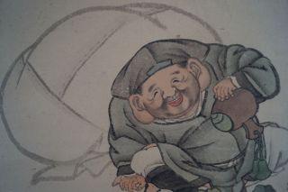 Antikes Japanisches Rollbild Kakejiku Hotei Und Die Mäuse Japan Scroll 3575 Bild