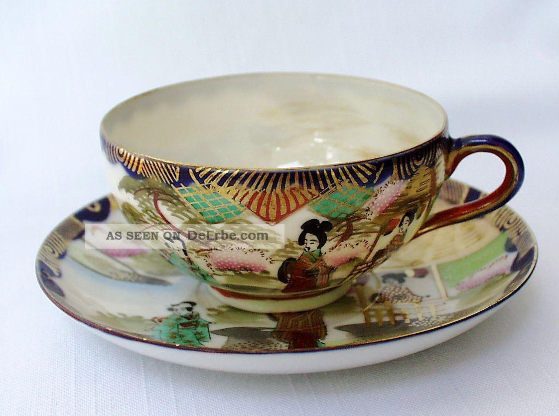Teegedeck/tea Place Setting Cup & Saucer,  Eggshell,  Niaki,  Kutani,  Japan Meiji Asiatika: Japan Bild