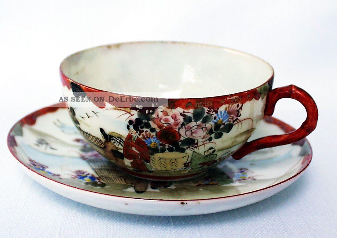 Teegedeck/tea Place Setting Cup & Saucer,  Eggshell,  Kutani,  Japan Um1900 Meiji Asiatika: Japan Bild