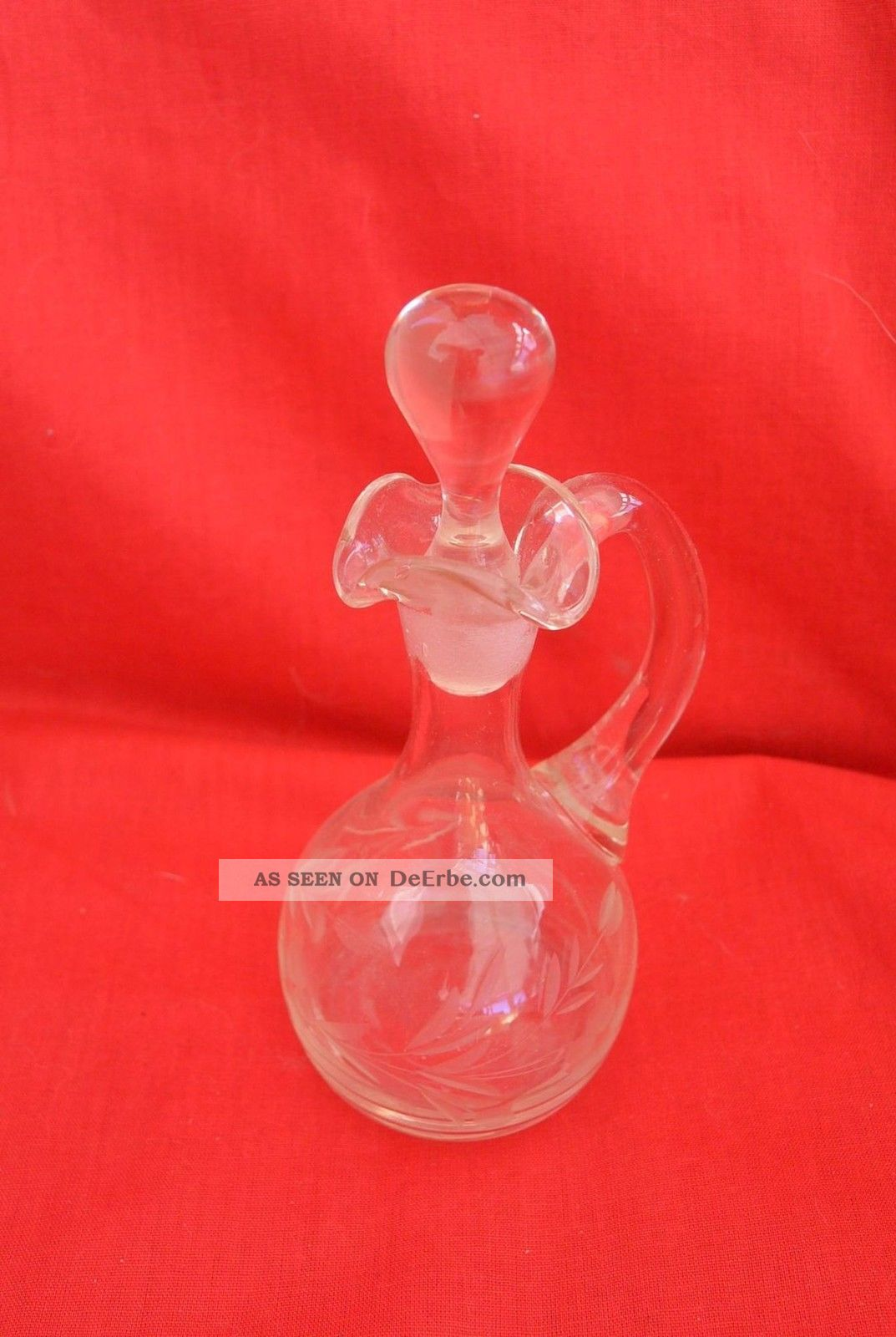 Kleine Kristallkaraffe Karaffe Mit Stöpsel Bauchig 17cm Kristall Bild