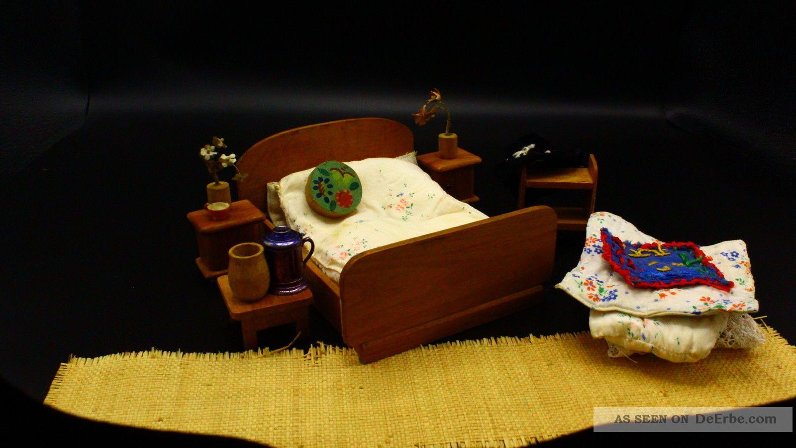 Konvolut Für Puppenstube Kaufladen Puppenküche Schlafzimmer 1950 Original, gefertigt vor 1970 Bild