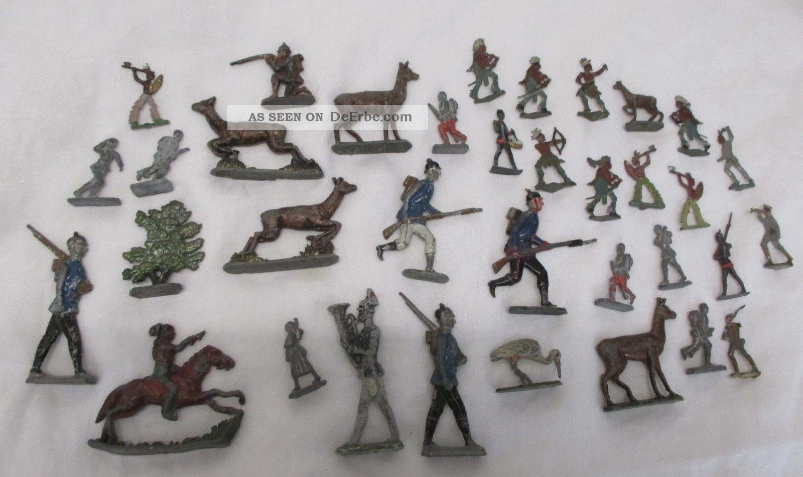 Ab 1910 Konvolut Zinnfiguren - MilitÄr & Seltene Indianer Usw. Gefertigt vor 1945 Bild