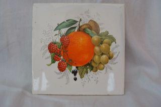 Kachel 15x15cm - Motiv Früchte Bunt - Villeroy&boch Mettlach - Handgemalt Bild