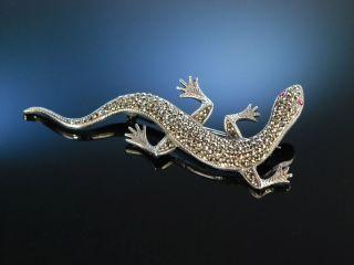 Salamander Brosche Silber 835 Synth Rubine Markasiten Um 1910 Silver Ruby Brooch Bild