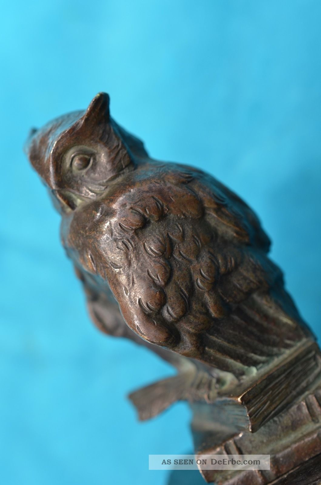 Schöne Alte Bronzefigur Eule Auf Sockel 20/30er Jahre Bronze Bild