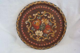 Holzteller Mit Saftrinne - Handbemalt Mit Bauernmalerei - Herrliche Dekoration Bild