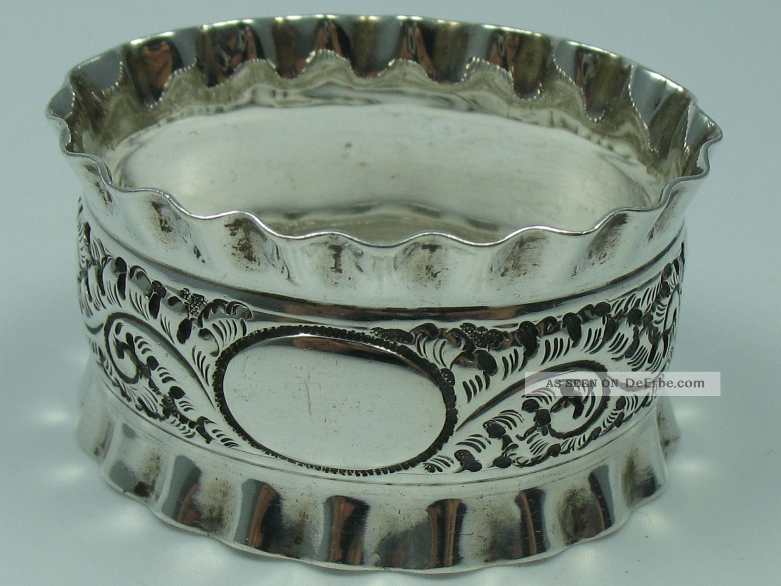 Allen And Darwin Sheffield Top Massiver Serviettenring Von 1896 Aus 925 Silber Objekte vor 1945 Bild
