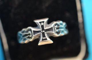 1.  Wk Reservistika Sammlerstück Ring Mit Eisernen Kreuz Silber 800 Um 1914/1915 Bild