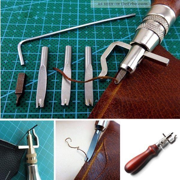 7tlg Lederwerkzeug Lederhand Punziereisen Leather Craft Stitching Groover Crease Sattler Bild