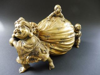 Antique China Bronze Boy Figur Box Dose Koi Fish Sack Qing Dynastie Art Nouveau Bild