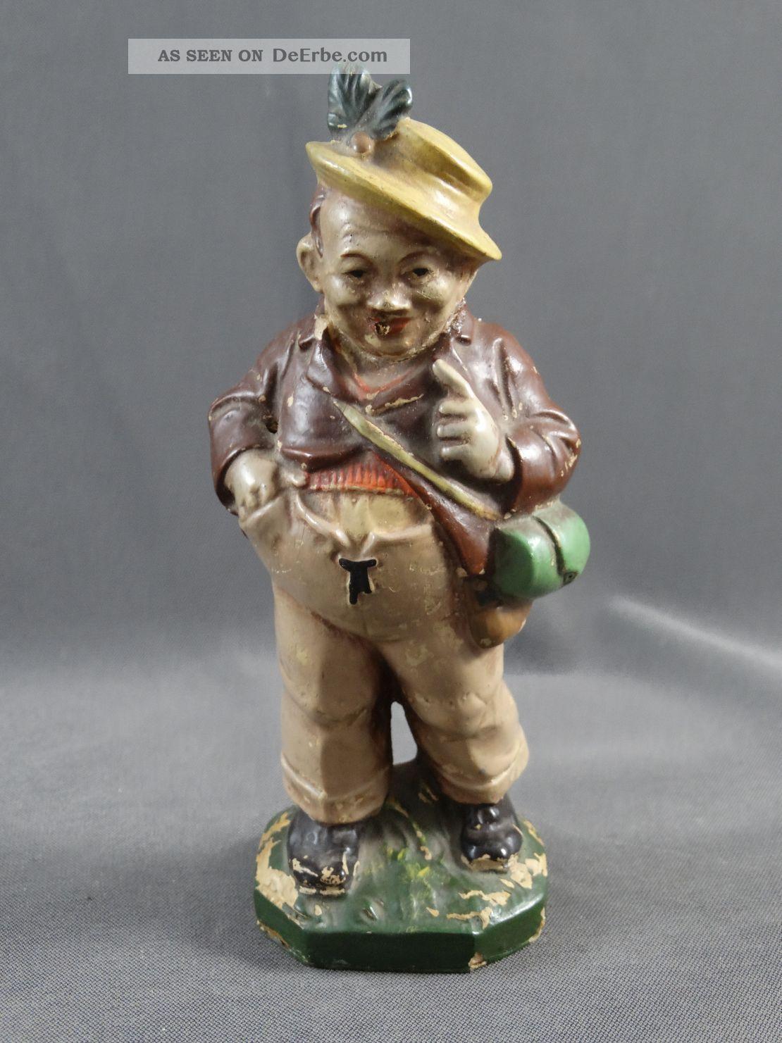 Alte Figur Sonneberger Friedel Masse Pappmaschee Wandersmann Gefertigt nach 1945 Bild