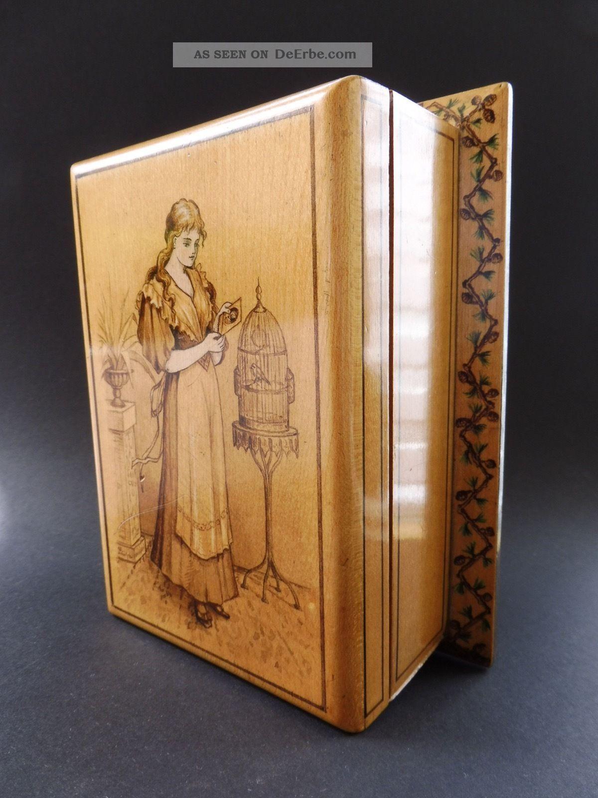 :: Jugendstil MÄdchen VogelkÄfig Holz Kassette Art Nouveau Box Maiden Birdcage 1890-1919, Jugendstil Bild