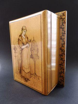 :: Jugendstil MÄdchen VogelkÄfig Holz Kassette Art Nouveau Box Maiden Birdcage Bild