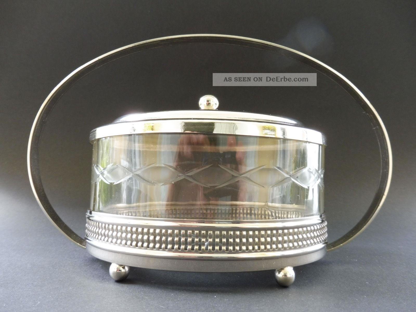 Jugendstil Design Bonbonniere Keks Dose Cookie Crystal Glas Box Art Nouveau 1915 1890-1919, Jugendstil Bild
