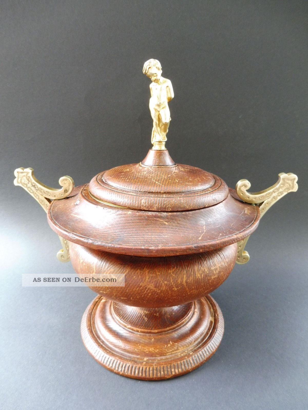 : Historismus Jugendstil Leder Putto Konfekt Dose Vergoldet Art Nouveau Box Gilt 1890-1919, Jugendstil Bild
