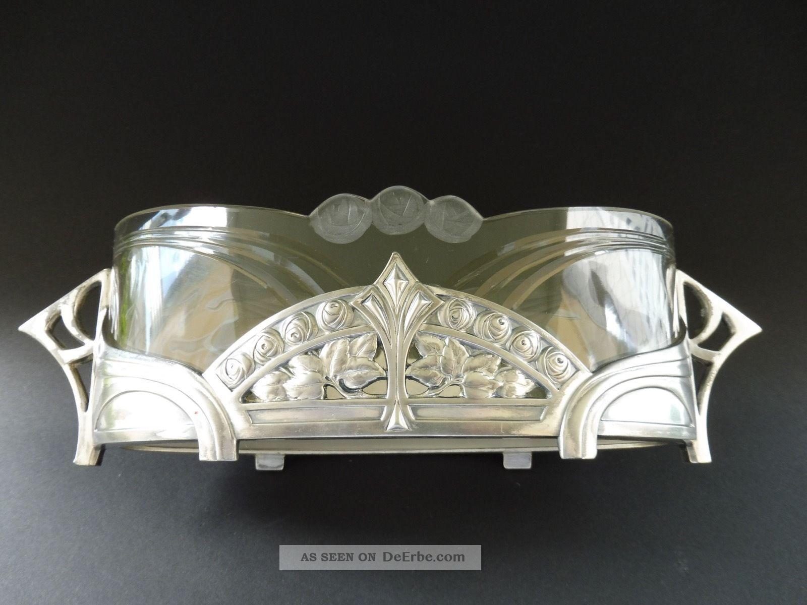 Wmf Jugendstil Jardiniere Hans Christiansen Rose Design Art Nouveau Glas Ak Cie 1890-1919, Jugendstil Bild