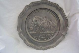 Alter Zinnteller Wandteller Zinn 32cm Pferdeköpfe Pferde Reitsport Bild