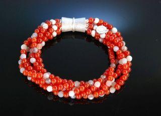 Herbstrot Armband Karneol Grau Achat Silber 925 Carnelian Agate Bracelet Bild