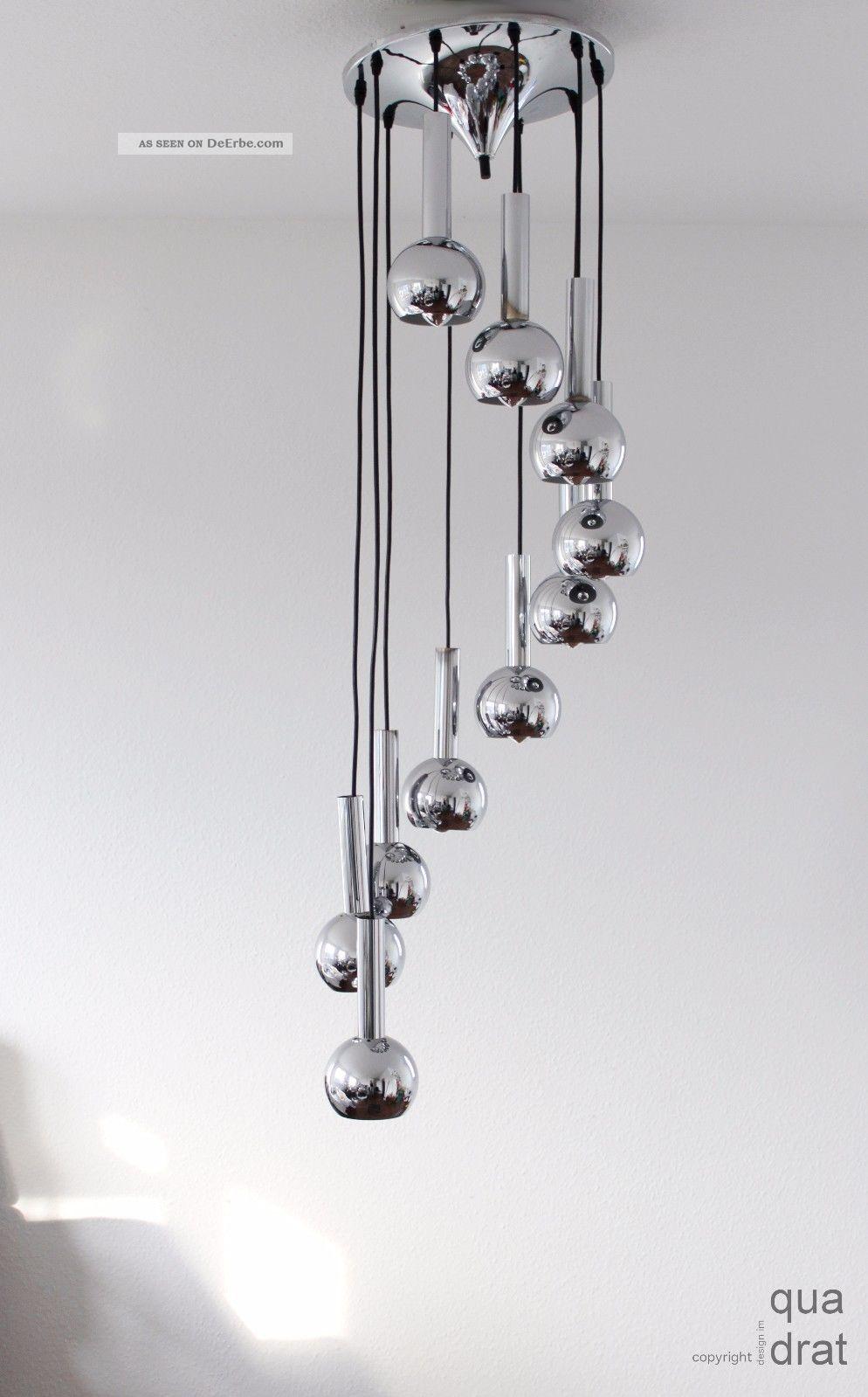 10armige chromkugel kaskadenlampe staff 70er sputnik design. Black Bedroom Furniture Sets. Home Design Ideas